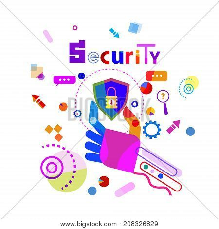 Hand Holding Shield Data Secutiry Protection Concept Banner Vector Illustration