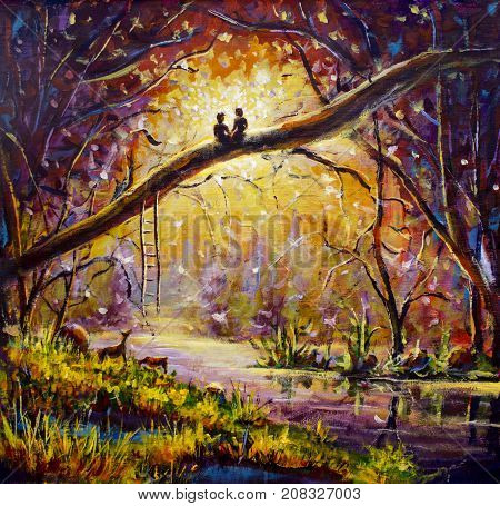 Original oil painting Lovers in dream forest of love on canvas. Beautiful romance landscape art - Modern impressionism painting.