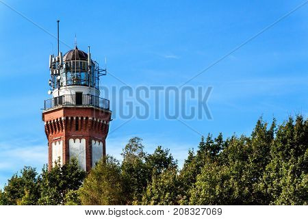 Historic lighthouse on the Baltic Sea in Niechorze Poland Europe. Lighthouse was built in 1866