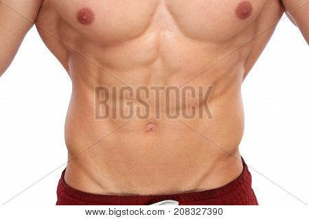 Abs Abdominal Muscles Bodybuilder Bodybuilding Body Builder Building Man Isolated