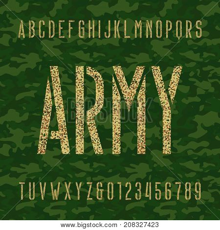 Army stencil alphabet font. Type letters and numbers on a green camo seamless  background. Stock vector typeface for your headers and any typography design.