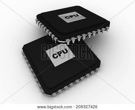 Processor Unit Concept . 3D Rendered Illustration
