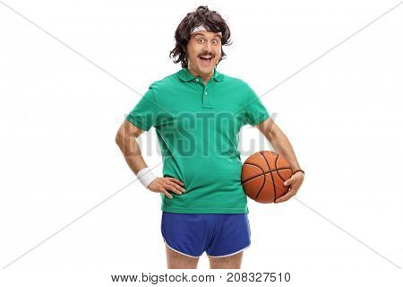 Retro sportsman with a basketball isolated on white background