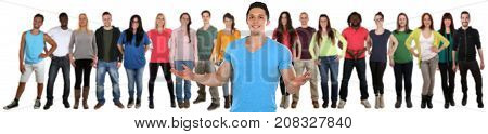 Group of young people friends welcome social media isolated on a white background