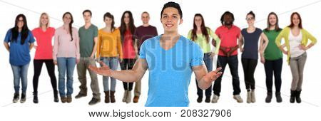 Friends group of young people social media isolated on a white background