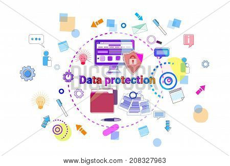 Data Protection Online Secutiry Concept Protection Banner Vector Illustration