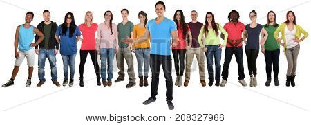 Group Of Young People Friends Welcome Inviting Invitation Standing Isolated