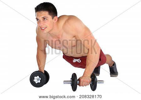 Push Ups Up Push-up Push-ups Dumbbell Muscles Bodybuilder Bodybuilding Man Isolated