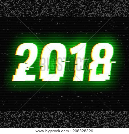 2018 glitch text. Anaglyph 3D effect. Technological retro background. Vector illustration. Creative web template. Flyer, poster layout. Computer program, TV channel screen, broadcasting concept.