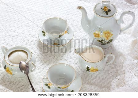 Old School Style Tea At Five Afternoon Service Set Sweet Traditional Table Hotel On White Table