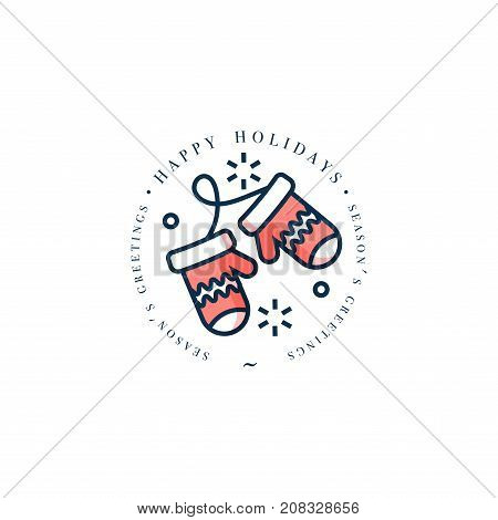 Lovely Merry Xmas concept linear design with Christmas gloves. Greeting typography compositions Xmas cards, banners or posters and other printables.