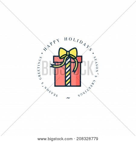 Lovely Merry Xmas concept linear design with Christmas present. Greeting typography compositions Xmas cards, banners or posters and other printables.