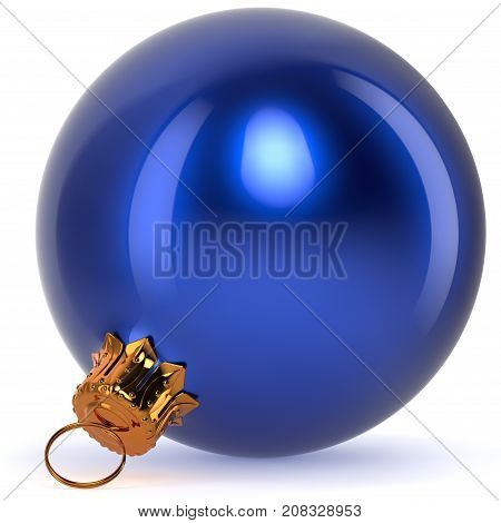 3d rendering Christmas ball blue decoration New Year's Eve bauble hanging adornment traditional Happy Merry Xmas wintertime ornament polished closeup
