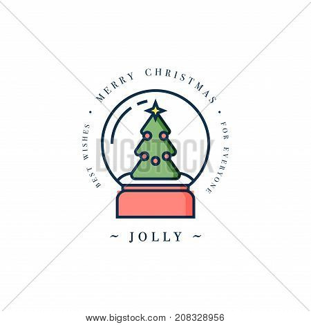 Lovely Merry Xmas concept linear design with Christmas ball with snow. Greeting typography compositions Xmas cards, banners or posters and other printables.