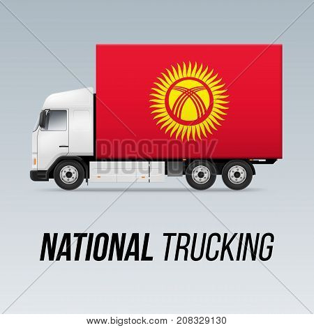 Symbol of National Delivery Truck with Flag of Kyrgyzstan. National Trucking Icon and Kyrgyz flag