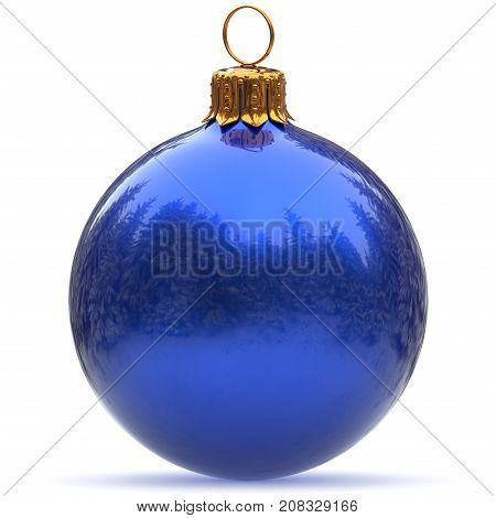 3d rendering Christmas ball blue decoration polished bauble closeup Happy New Year's Eve hanging adornment traditional Merry Xmas wintertime ornament excellent
