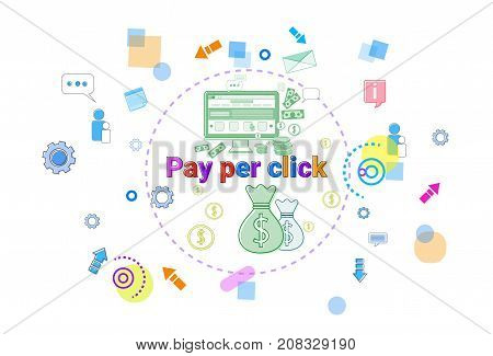 Pay Per Clock Online Payment Concept Web Banner Vector Illustration
