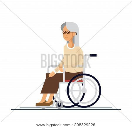 Elderly person. Grandmother in a wheelchair. Vector illustration in a flat style. Elderly disabled woman