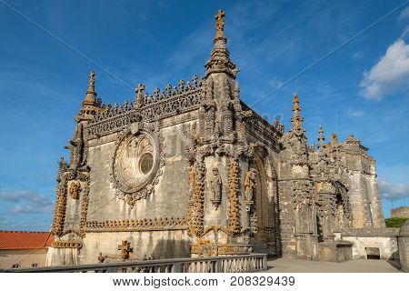 Chapter house and main Church in the Convent of Christ (Convento de Cristo). Tomar Ribatejo Portugal
