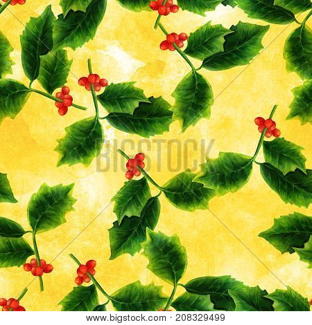 A golden watercolor seamless pattern of a drawing of a Christmas holly, a festive winter holidays repeat print
