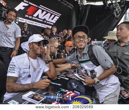 Lewis hamilton mercedes amg image photo bigstock sepang malaysia october 01 2017 lewis hamilton of great britain and mercedes amg petronas f1 team meet fans before the malaysia formula one f1 grand m4hsunfo
