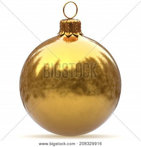 3d rendering Christmas ball golden closeup decoration polished bauble yellow