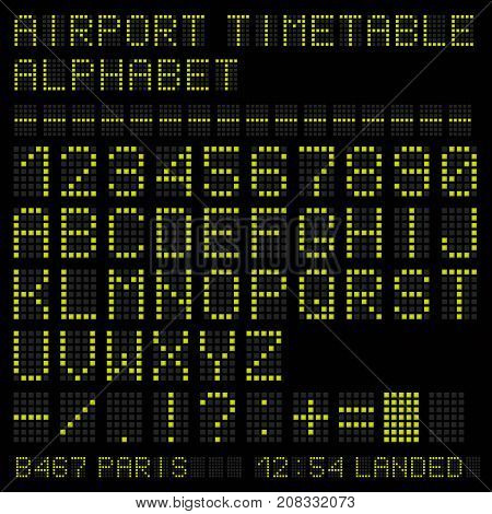 Airport vector timetable green alphabet on black background.