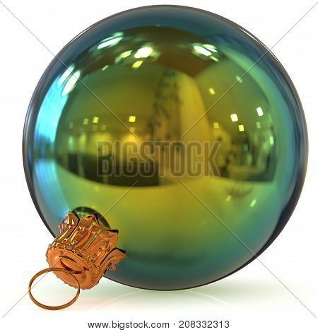 3d rendering Christmas ball decoration green closeup New Year's Eve bauble hanging adornment traditional Happy Merry Xmas wintertime ornament polished
