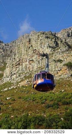 Cable car to the summit of the Table Mountain in Cape Town, South Africa