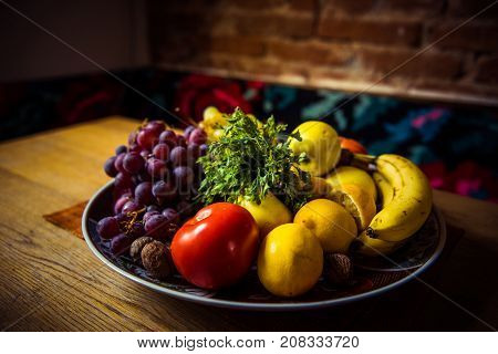 Diet Fresh Fruits. Healthy Breakfast, Weight Loss Concept