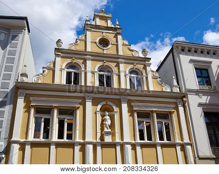 Beautiful traditional design stone city town building house Germany