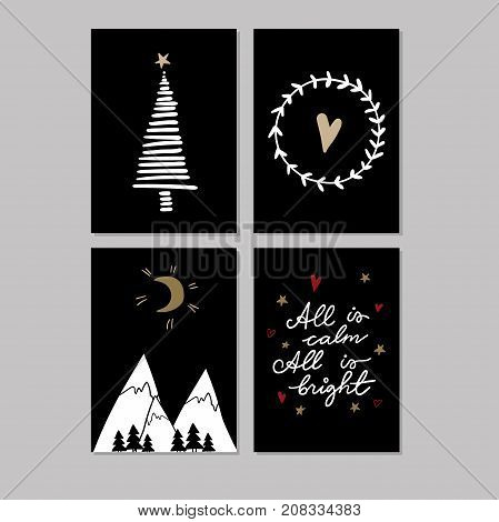 Set of doodle Christmas greeting cards. Vector hand drawn cute icons. Scandinavian black style. Xmas tree, mountains, garland  and lettering. New Year scrapbooking. Holiday festive party.