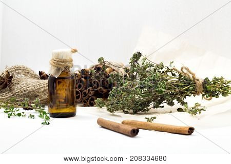 Bright Dried Medicinal Herbs For Cosmetic And Healthcare Use. Apothecary Aroma Dropper Bottles. Natu