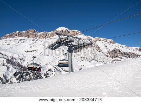 VAL GARDENA ITALY - FEBRUARY 07 2017: Skiing area in the Dolomites Alps. Overlooking the Sella group in Val Gardena. Italy
