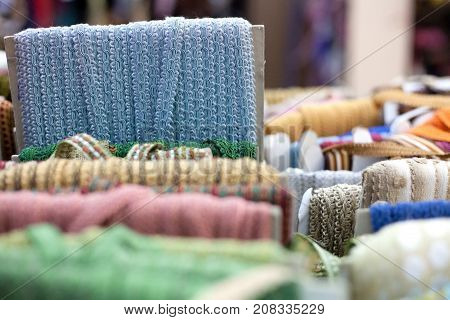 Blue Embroidering Textile