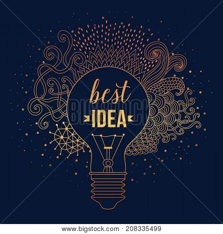 Light bulb made of handdrawn doodles, creative concept. Vector concept - creativity and idea. Lettering. quote. Creative light bulb, Big idea, Creative Research