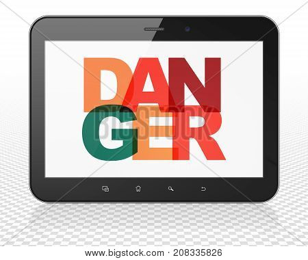 Privacy concept: Tablet Pc Computer with Painted multicolor text Danger on display, 3D rendering