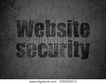 Privacy concept: Black Website Security on grunge textured concrete wall background
