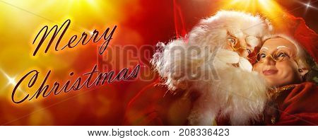 Santa Claus And Mrs Claus Postcard On Red Yellow Titled