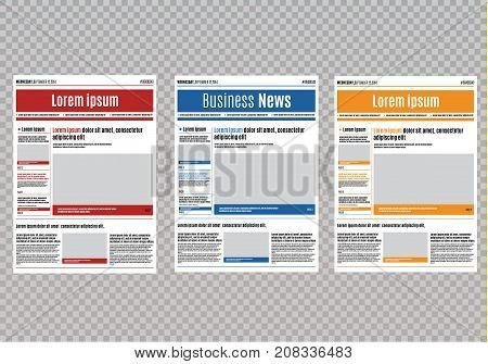 Newspaper design template with red headline, images and charts, articles and financial information, advertising vector