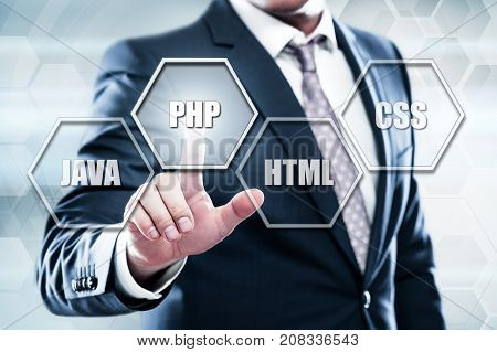 Business, technology, internet concept on hexagons and transparent honeycomb background. Businessman pressing button on touch screen interface and select php.