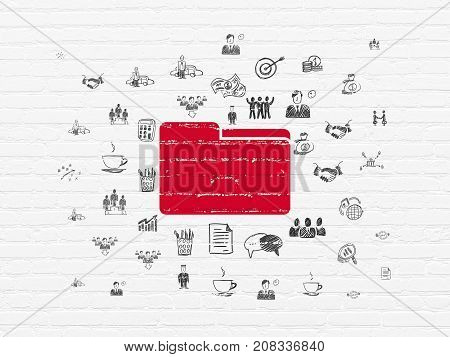 Finance concept: Painted red Folder icon on White Brick wall background with  Hand Drawn Business Icons