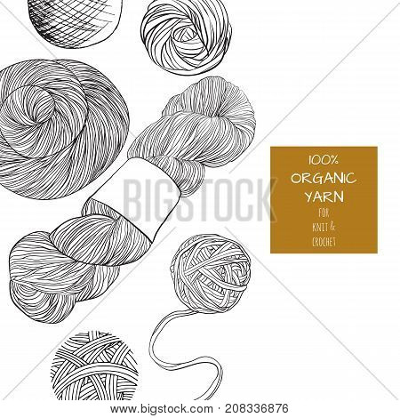 Poster with yarn ball in cartoon style. For print, logo, creative design. Vector illustration. Isolated on white