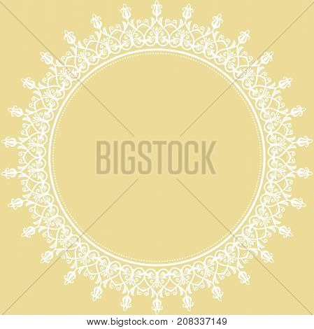 Elegant vector round white ornament in classic style. Abstract traditional pattern with oriental elements. Classic vintage pattern