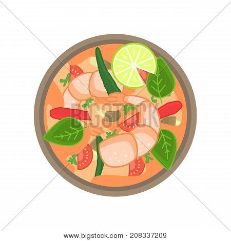 Flat vector thai shrimp sour soup tom yum khung or goong. Traditional asian dish for restaurant menu or advertisement design