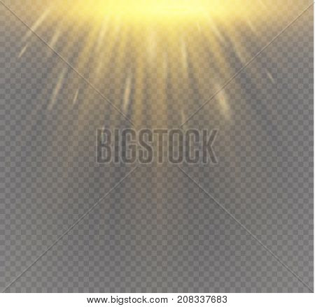Golden podium on a transparent background.the podium of winners with bright lights.spotlight.lighting.vector illustration.attention.