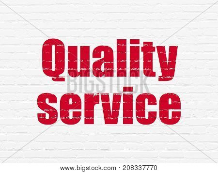Business concept: Painted red text Quality Service on White Brick wall background