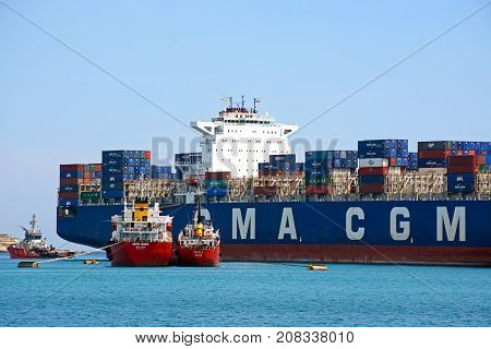 BIRZEBBUGA, MALTA - APRIL 1, 2017 - Container ship Callisto docked in the port Birzebbuga Malta Europe, April 1, 2017.