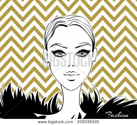 Vector fashion illustration.Beautiful model portrait.Fashionable girl.Woman face.Graphic in vogue style.Female beauty person.Young and stylish girl.Black and gold design.Trendy graphic in sketch style