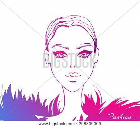 Vector fashion model. Beauty face. Beautiful sketch illustration in vogue style. Stylish young woman face. Trendy design. Fashionable girl. Cute lady. Female portrait. Glamour graphic.